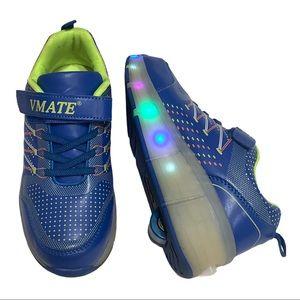 VMATE light Up Heelys sneakers boy girl blue, Sz 6